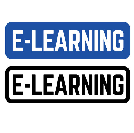 e learning stamp on white background. Sign, label, sticker.