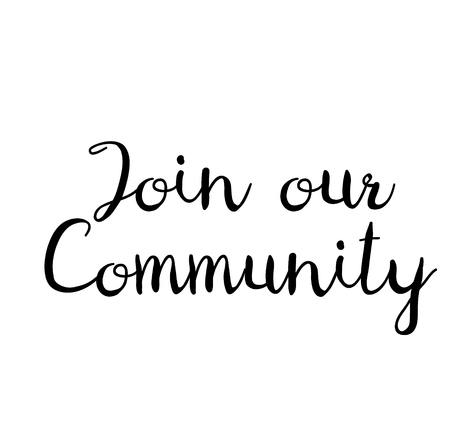 join our community stamp on white background. Sign, label, sticker. Illustration
