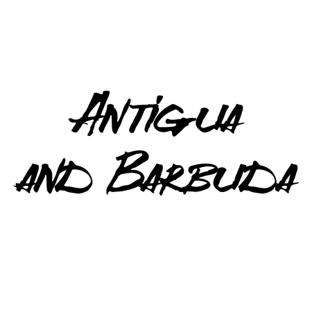 antigua and barbuda stamp on white background. Sign, label, sticker. Illustration
