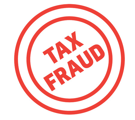 tax fraud stamp on white background. Sign, label, sticker.