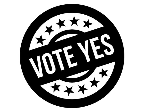 vote yes stamp on white background. Sign, label, sticker. Çizim