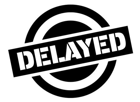 delayed stamp on white background. Sign, label, sticker.