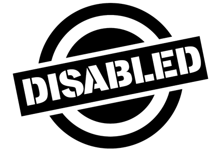 disabled stamp on white background. Sign, label, sticker.