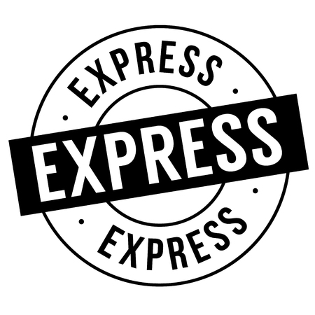 timbre express sur fond blanc. Signe, étiquette, autocollant. Vecteurs