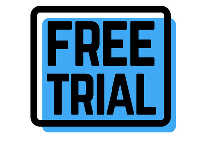 free trial stamp on white background. Sign, label, sticker.
