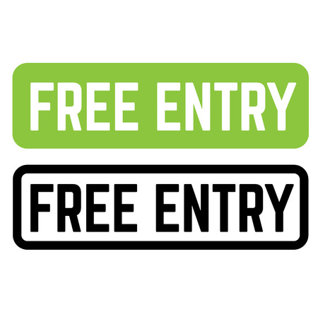 free entry stamp on white background. Sign, label, sticker.