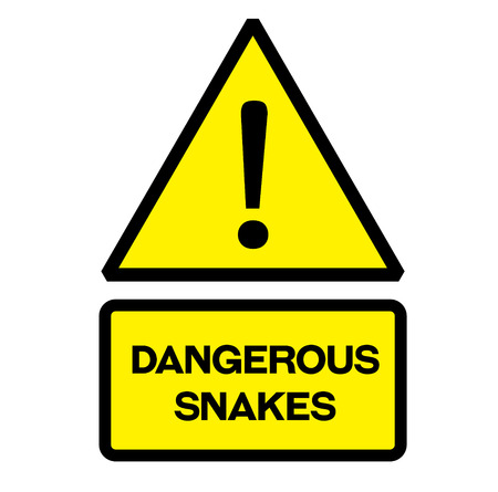 Dangerous snakes fictitious warning sign, realistically looking.