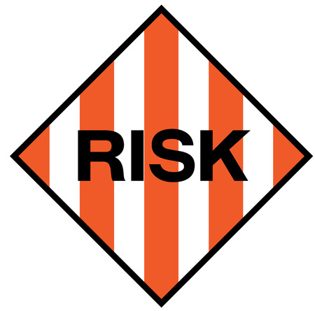 Risk fictitious warning sign, realistically looking.