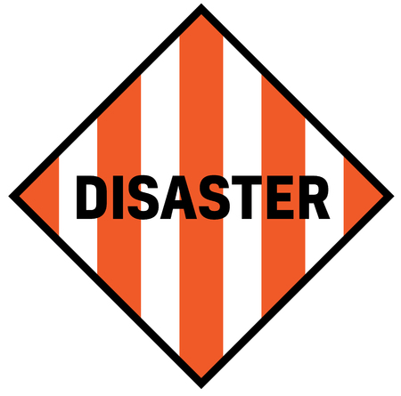 Disaster fictitious warning sign, realistically looking. Illustration