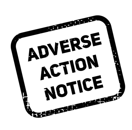 adverse action notice advertising sticker, label, stamp on white.