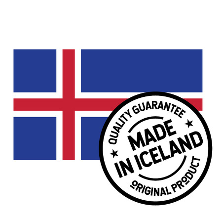 Made in Iceland product label isolated on white background.