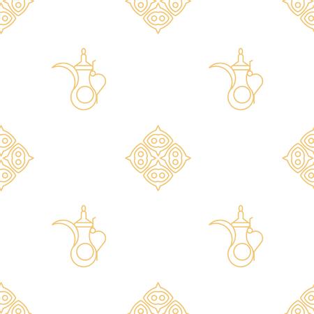 Arabic kettle pattern. Line art geometric style. 矢量图像