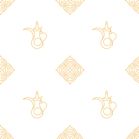 Arabic kettle pattern. Line art geometric style. Ilustracja