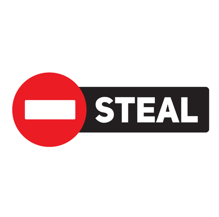 steal advertising sticker, label, stamp on white 向量圖像