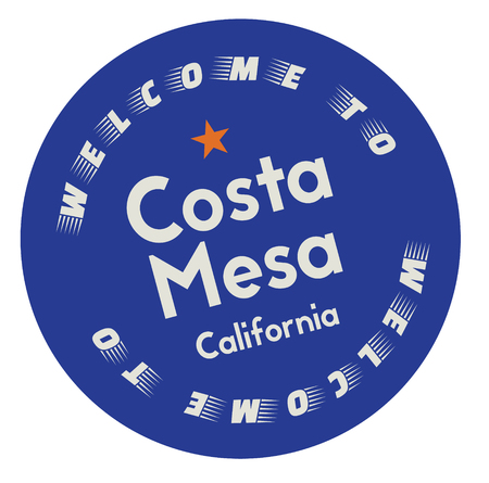 Welcome to Costa Mesa California tourism badge or label sticker. Isolated on white. Vacation retail product for print or web.