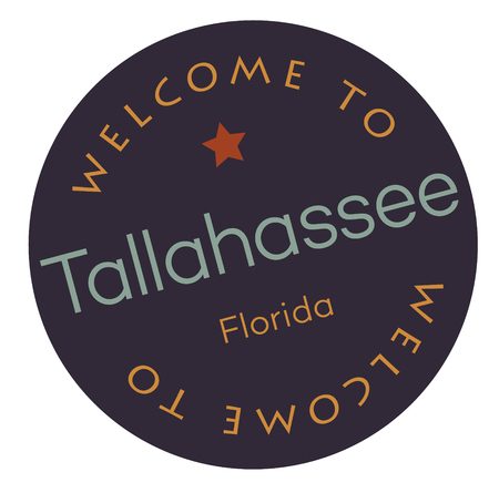 Welcome to Tallahassee Florida tourism badge or label sticker. Isolated on white. Vacation retail product for print or web.