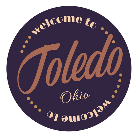 Welcome to Toledo Ohio tourism badge or label sticker. Isolated on white. Vacation retail product for print or web. Illustration