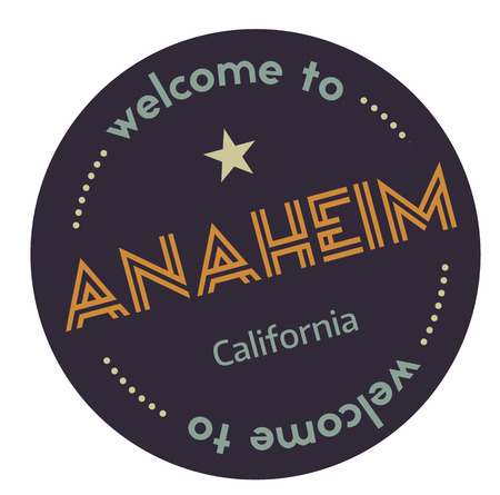 Welcome to Anaheim California tourism badge or label sticker. Isolated on white. Vacation retail product for print or web.