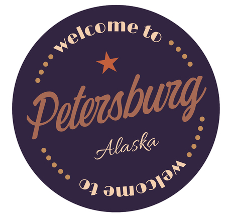Welcome to Petersburg Alaska tourism badge or label sticker. Isolated on white. Vacation retail product for print or web.
