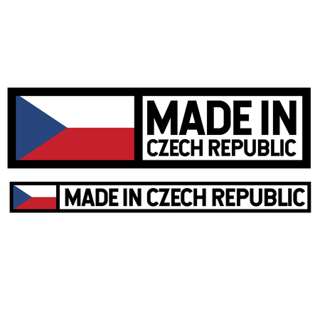 Made in Czech Republic product label isolated on white background.