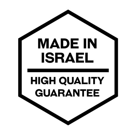 Made in Israel product label isolated on white background.