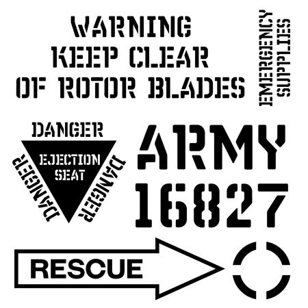 Strijdkrachten stencil teken collectie. Zwart op witte achtergrond.