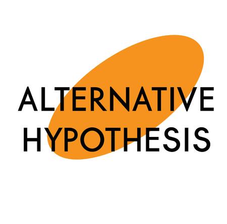alternative hypothesis advertising sticker, label, stamp on white Foto de archivo - 126001386