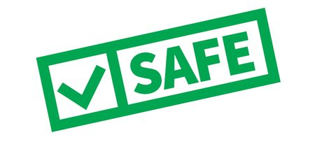 Safe typographic stamp, sign, label. Green check series. 向量圖像