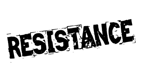 Resistance black typographic stamp. Distressed grunge series.