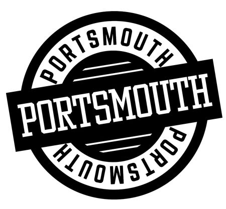 Portsmouth black and white badge. City and country series. Illustration