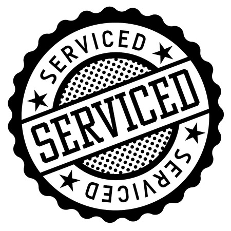 Serviced black and white badge. Typographic label series.