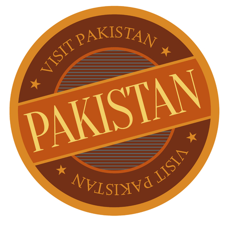 Pakistan geographic stamp. City or country label, sign.