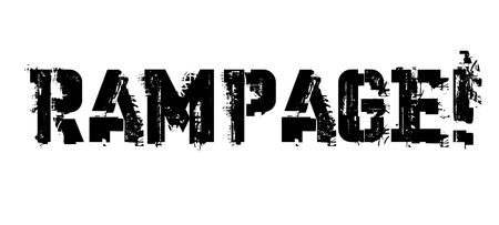 Rampage typographic stamp, sign, label. Black distressed series.