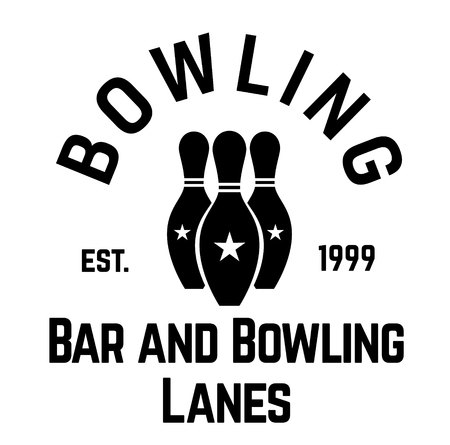 bowling label on white background
