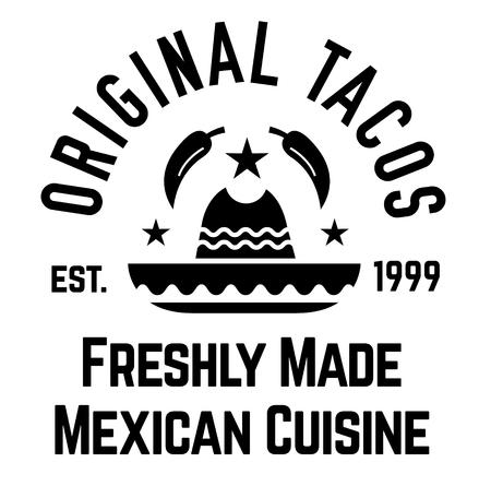 original tacos label on white background Illustration