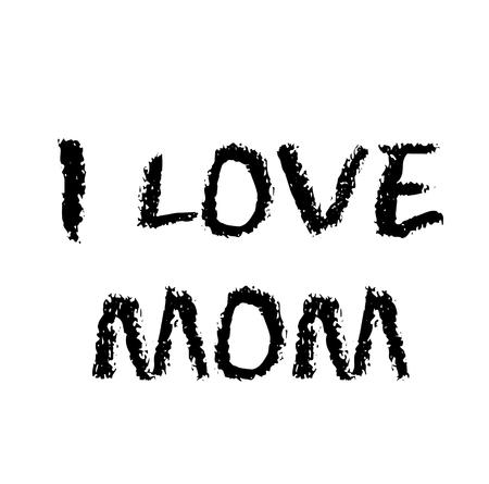 i love mom stamp on white background Illusztráció
