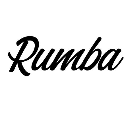 rumba label on white background Stock Illustratie