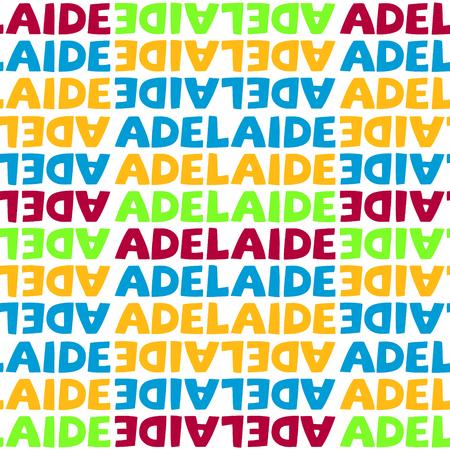 Adelaide, Australia seamless pattern, typographic city background, texture.