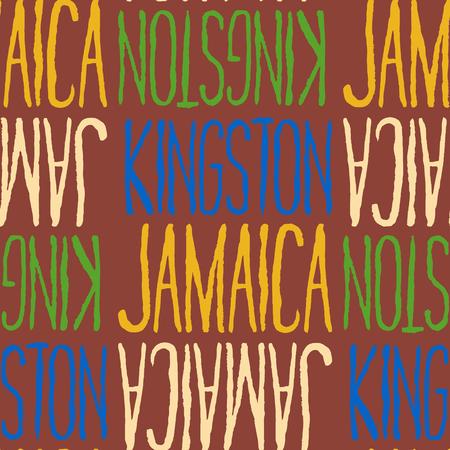 Kingston, Jamaica seamless pattern, typographic city background, texture.