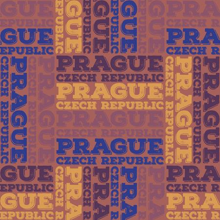 Prague, Czech Republic seamless pattern, typographic city background, texture.