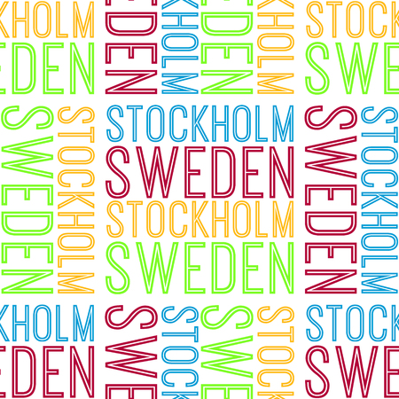 Stockholm, Sweden seamless pattern, typographic city background, texture.