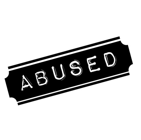abused black stamp, sticker, label on white background