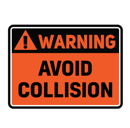 Warning avoid collision fictitious warning sign, realistically looking. Illustration