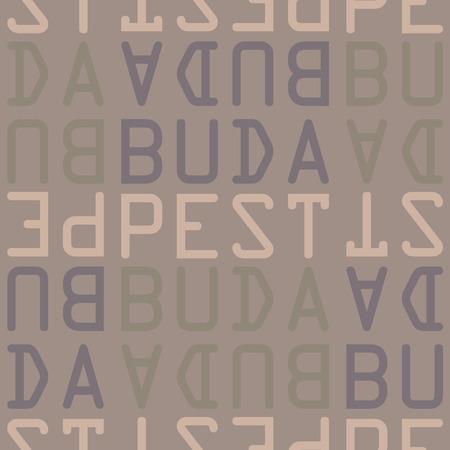 Budapest, Hungary seamless pattern, typographic city background, texture.