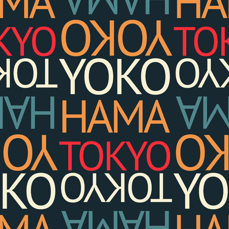 yokohama, tokyo japan seamless pattern, typographic city background, texture.