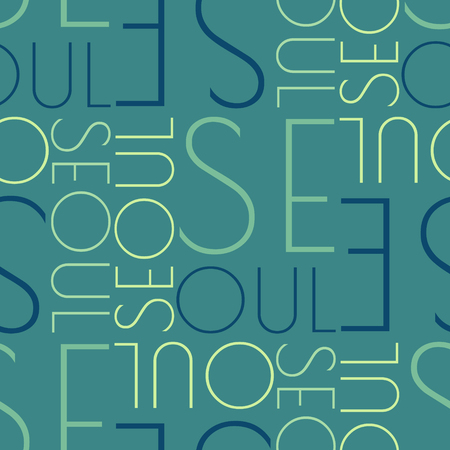 seoul, South Korea seamless pattern, typographic city background, texture. Vectores
