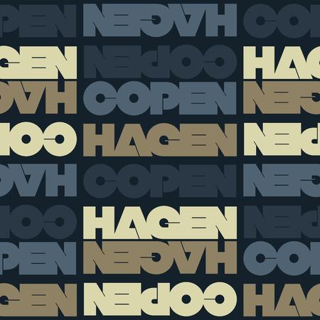 Copenhagen, Denmark seamless pattern, typographic city background, texture. 向量圖像