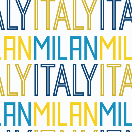 Milan, Italy seamless pattern, typographic city background, texture. 矢量图像