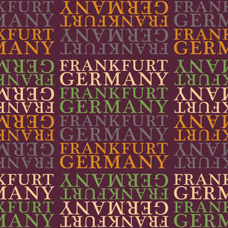 Frankfurt, Germany seamless pattern, typographic city background, texture.