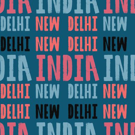 New Delhi, India seamless pattern, typographic city background, texture. Ilustrace